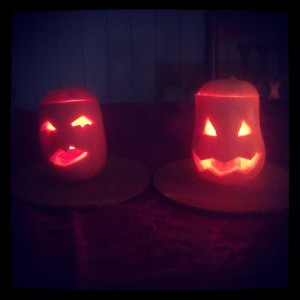 "Samhain Pumpkins. Mine looks like a ""blow-up"" pumpkin!"