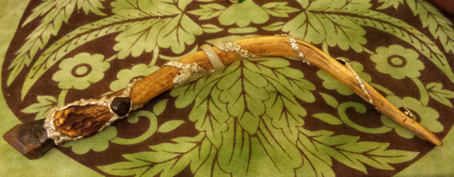 Deer Antler Want with black amethyst, obsidian and silver by Gentle Eagle Creations