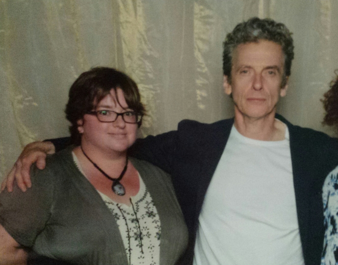 Myself with Peter Capaldi. Doctor Who Festival, 21 November 2015. For privacy reasons my mother has been cropped out.